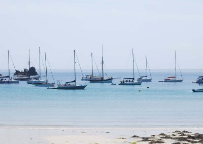 Amelie Rose anchored in The Cove whilst on a sailing around the Isles of Scilly