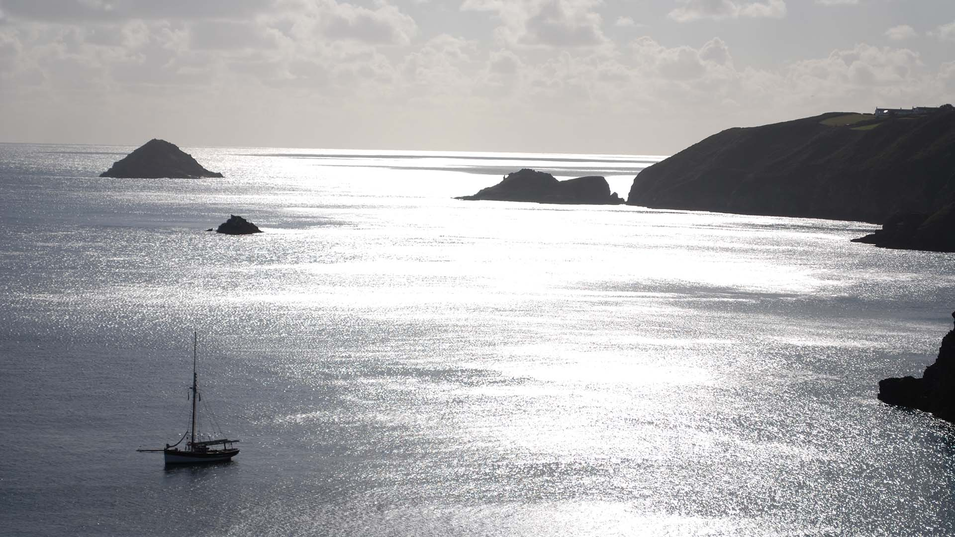 Amelie Rose at anchor in Dixcart Bay, Sark in the Channel Islands